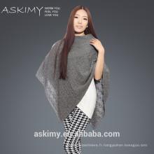 2015 Poncho à la mode 100% en laine, poncho en laine tricotée