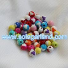 8MM plastik yuvarlak kalp tıknaz Bubblegum kolye boncuk boncuk