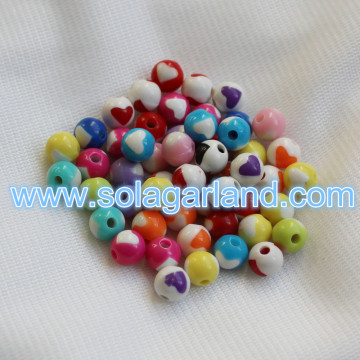 8MM Plastic Round Heart Chunky Beads Bubblegum Necklace Beads