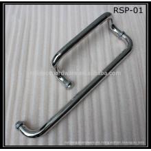 manija de la puerta de la ducha del vidrio del oscilación material del acero inoxidable con la barra de toalla