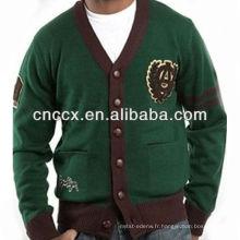 13STC5474 V-neck hommes cardigan personnalisé pull