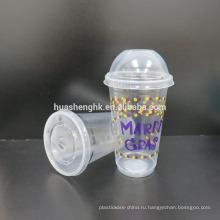 Высококачественные пищевые прозрачные пластиковые одноразовые чашки на 17 унций / 500 мл с крышками для оптовой