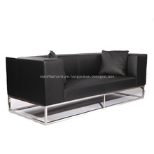 Modern Leather Sofa with Stainless Steel Frame