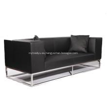 Sofá de cuero moderno con marco de acero inoxidable