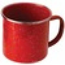 Draußen Edelstahl Felge Enamelware Cup, Red Emaille Becher