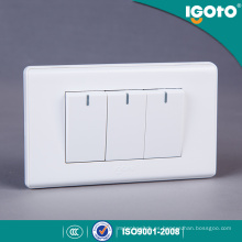 Igoto America Standard 3 Gang 1 Way Interruptor con Neon Light 3 Gang 2 Way Interruptores con Neon Light