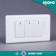 Igoto América Standard 3 Gang 1 Way Switch com Neon Light 3 Gang 2 Way Switches with Neon Light
