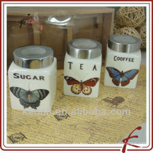Diseño de mariposa barata de cerámica porcelana cosméticos Candy crema de almacenamiento de tarro