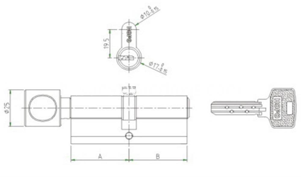 Security Cylinder Lock,Casement Door Cylinder,Folding Door Cylinder Drawing