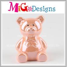 Piggy cerâmico atrativo diário do urso cor-de-rosa