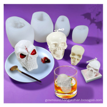 Food Grade Cake Tool Hand Making DIY Skull Ice Cube Mould 3D Halloween Silicone Candle Mold