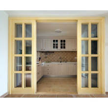 Wooden Glazed Sliding kitchen entrance door