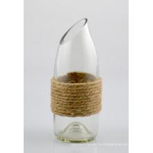 Стеклянная ваза с джутовым канатом