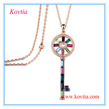 Fashion key pendant long chain costume jewelry necklace