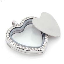 Aço inoxidável 316l vidro flutuante encantos medalhão prata placas de coração em branco por atacado