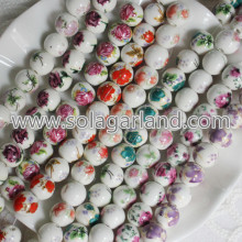 Flower Pattern Round Ceramic Porcelain Spacer Beads Charms