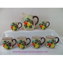 Keramik Handbemalt Pitcher mit Griff und Tassen