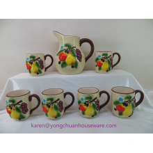 Ceramic Handpainted Pitcher with Handle and Mugs