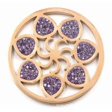 Plaque de monnaie à fleurs interchangeables à la mode avec cristal violet
