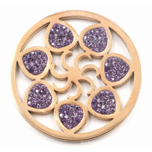 Fashion Interchangeable Flower Coin Plate with Purple Crystal