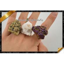 Raw Rock Quartz Druzy rebordea los anillos, joyería del anillo de Geode al por mayor (FR011)