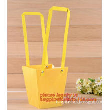 Yellow Organza Packing Pouch Golden Flower Wedding Favors Gift Bags, Plastic Plant Carry Bags, PP bag with handles plant PP bag