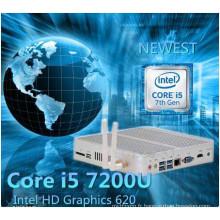 7ème génération Fanless Mini PC Core I5 7200u I3 7100u Intel HD Graphics620 14 Nm Wind10 Barebone 4k HTPC Ordinateur de bureau