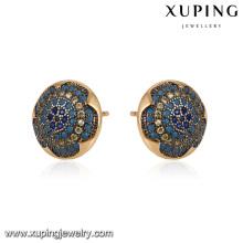 93068 xuping moda 18 k oro color stud damas incrustaciones pendiente de aro de piedra