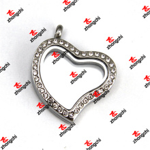 Stainless Steel Heart Crystal Magnets Glass Lockets Jewelry (LKD60129)