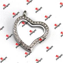 Aço inoxidável coração cristal ímãs vidro lockets jóias (lkd60129)