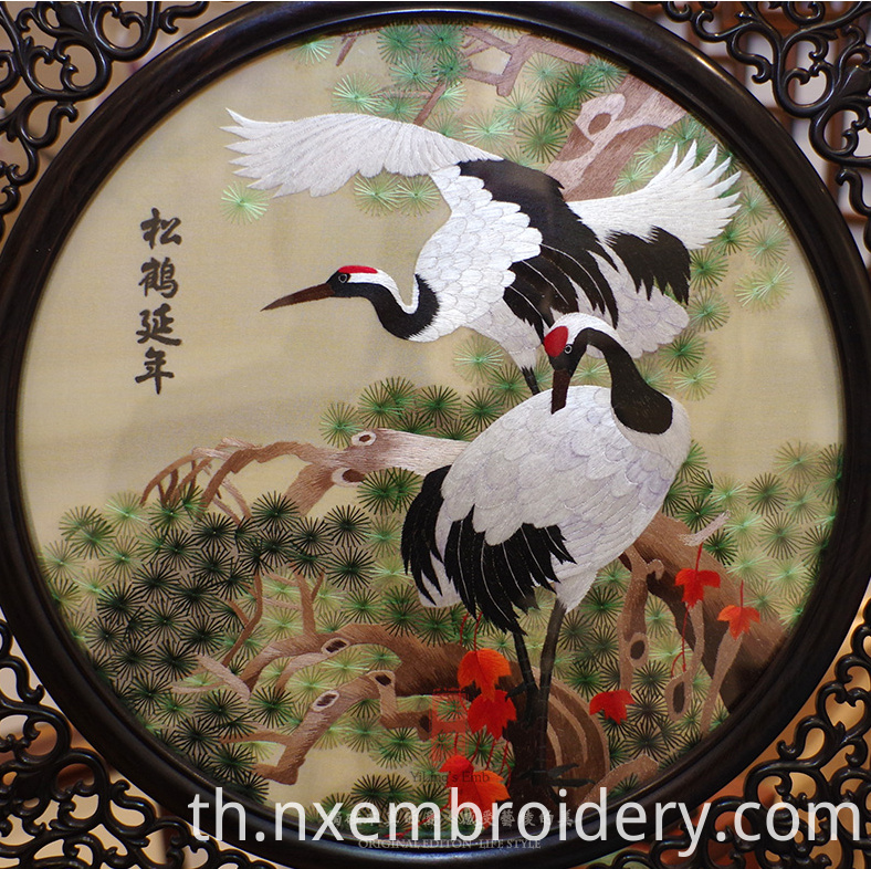 Hand Embroidered Artwork Pine Crane