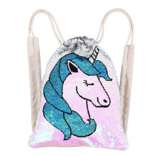 Kids Flip Sequin Unicorn Drawstring Backpack for Outdoor Sports