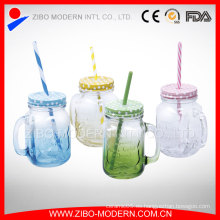 Precio de Fábrica Bulk Colored 16oz Decorative Mason Jars with Straw