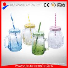 Preço de fábrica Bulk Colorido 16oz Mason Jars com Straw