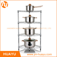 4 Tier Chrome Metal Display Shelving Corner Rack