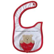 Babete de bebê promocional de algodão com impressão de desenhos animados