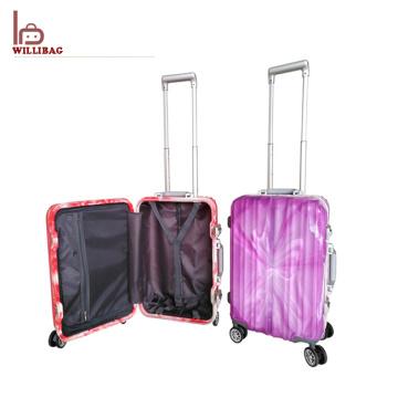 Caixa ajustada do trole de PP do curso da mala de viagem da bagagem dos PP do alumínio
