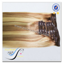 Wholesale grade 7a piano color 100% virgin human hair clip in hair extensions