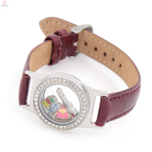 Cuir wrap bracelet médaillon pas cher personnalisé bracelets en tissu, pendentif montre flottante