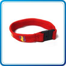 Custom Polyester Fabric Wristband with Plastic Buckle Lock
