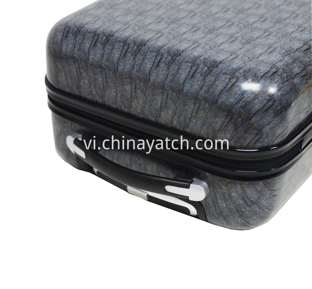 hardside luggage with stone printing