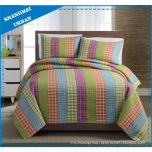 Bright Plaid Stripe Printed Polyester Quilt Set