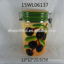 2016 nuevo recipiente hermético de cerámica de la llegada con el modelo verde oliva
