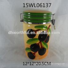 2016 novo recipiente fechado cerâmico de cerâmica com azeitona padrão