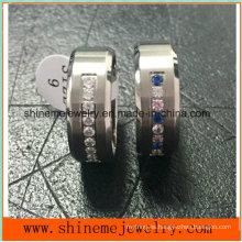 Anillo de titanio de piedra de cristal de acero inoxidable de moda (TR1826)