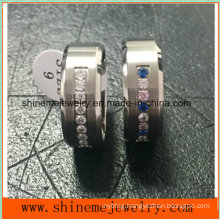 Fashion Stainless Steel Glass Stone Titanium Ring (TR1826)