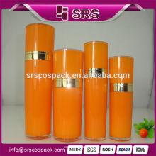 Frasco de creme de rosto acrílico, 30ml 50ml 80ml 120ml laranja barato cosméticos garrafas de plástico