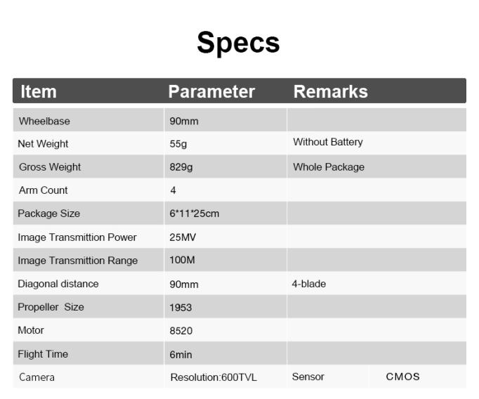 90mm 5.8G 600TVL Camera FPV Racing Drone Quadcopter