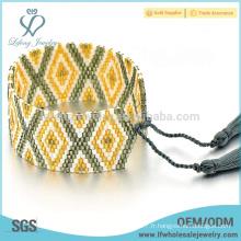 Bracelet en forme de perles multicolores, petit bracelet en perles avec frange