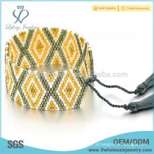 Multi-color semente beads wrap pulseira, pequenos grânulos pulseira com franja